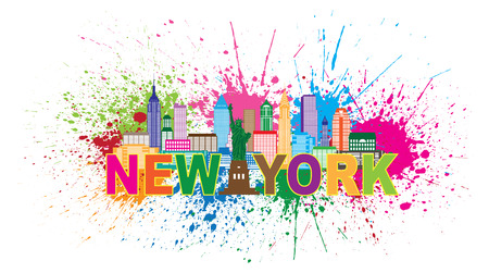 uptown: New York City Skyline with Statue of Liberty Abstract Paint Splatter Colorful Text Illustration Illustration