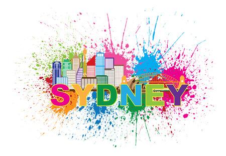 sydney skyline: Sydney Australia Skyline Landmarks Harbour Bridge Paint Splatter Colorful Abstract Isolated on White Background Illustration