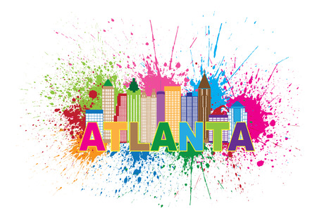 Atlanta Georgia City Skyline Paint Splatter Abstract with Colorful Text llustration Ilustração