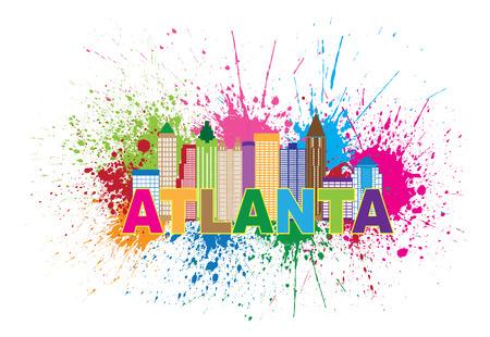 Atlanta Georgia City Skyline verf ploetert Samenvatting met kleurrijke Text llustration
