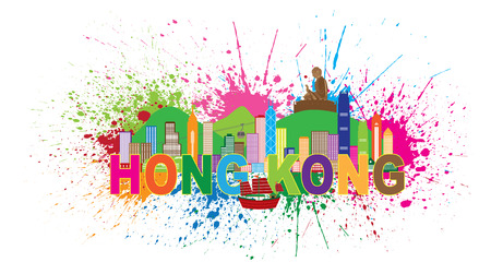 Hong Kong City Skyline and Big Buddha Statue Panorama Color Abstract Paint Splatter Text Isolated on White Background Illustration Illustration