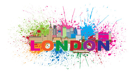 splatter paint: London England Skyline Panorama with Tower Bridge and Westminster Palace Abstract Paint Splatter with Color Text Illustration