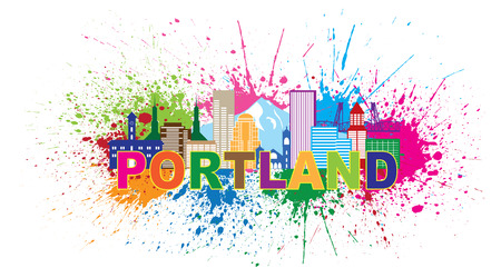 pacific northwest: Portland Oregon Outline Silhouette with City Skyline Downtown Panorama Color Text Paint Splatter Isolated on White Background Illustration