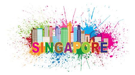 Outline Singapour City Skyline Silhouette Panorama couleur du texte et des éclaboussures de peinture abstraite isolé sur fond blanc Illustration