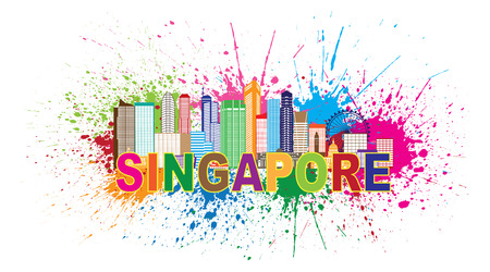 Singapore City Skyline Silhouette Outline Panorama Color with Text and Paint Splatter Abstract Isolated on White Background Illustration