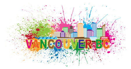 splatter paint: Vancouver British Columbia Canada City Skyline Color Text with Abstract Paint Splatter Illustration Illustration