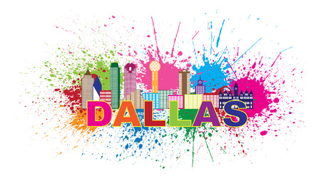 tx: Dallas Texas City Skyline Outline Color Silhouette Panorama with Text and Paint Splatter Abstract Isolated on White Background Illustration