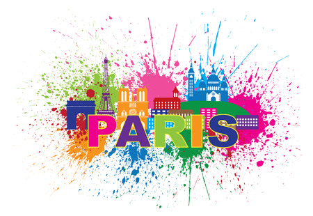 paris: Paris France City Skyline Outline Silhouette Paint Splatter Abstract Colorful Text Isolated on White Background Panorama Illustration