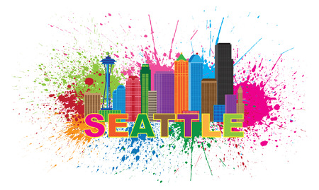 pacific northwest: Seattle Washington Downtown City Skyline Color Text Paint Splatter Abstract Isolated on White Background Illustration