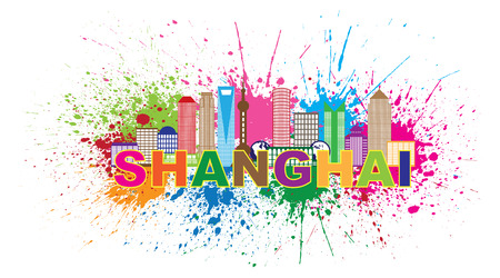 splatter paint: Shanghai China City Skyline Outline Silhouette Color Text Paint Splatter Abstract Isolated on White Background Illustration Illustration