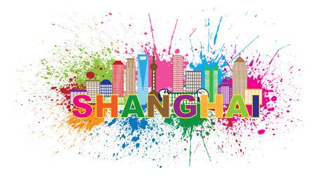 shanghai skyline: Shanghai China City Skyline Outline Silhouette Color Text Paint Splatter Abstract Isolated on White Background Illustration Illustration
