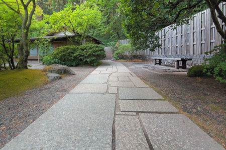 japanese tea garden: Stone Path to Tea House at Japanese Garden Stock Photo