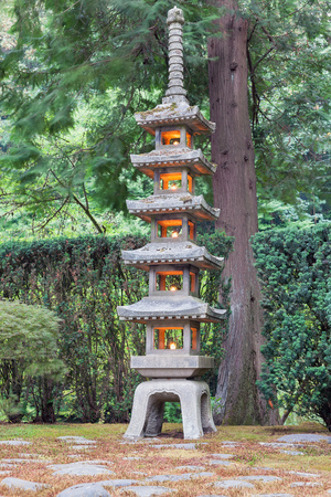 Tall Pagoda Stone Lantern At Japanese Garden Stock Photo, Picture And  Royalty Free Image. Image 44906089.