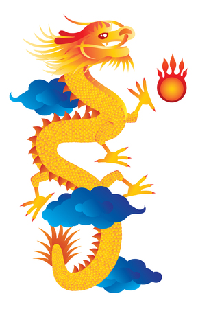 mythical festive: Chinese Lunar New Year Dragon with Flaming Pearl on Clouds Isolated on White Background Color Illustration