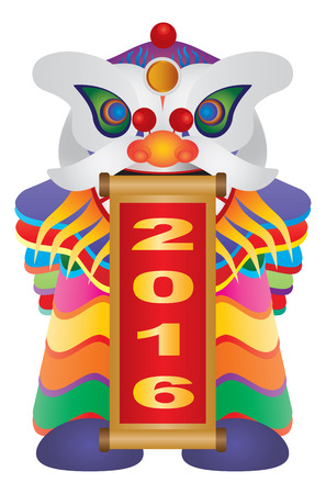 Chinese scroll: Chinese New Year Colorful Lion Dance Holding Scroll with Numerals 2016 Happy New Year Isolated on White Background Illustration
