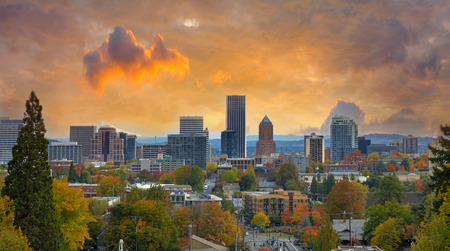 Portland Oregon Downtown City During Sunset in the Fall Season
