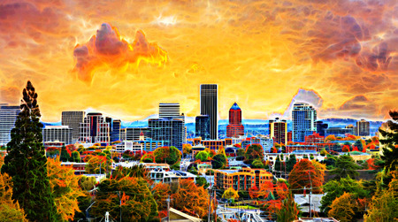 Portland Oregon Downtown City During Sunset in the Fall Season Abtract Painting Archivio Fotografico