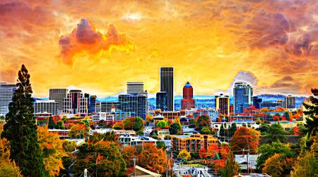 Portland Oregon Downtown City Tijdens zonsondergang in de herfst seizoen trekt schilderen Stockfoto