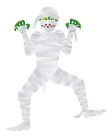 Halloween Mummy Cartoon with Green Fingers Isolated on White Background Illustration