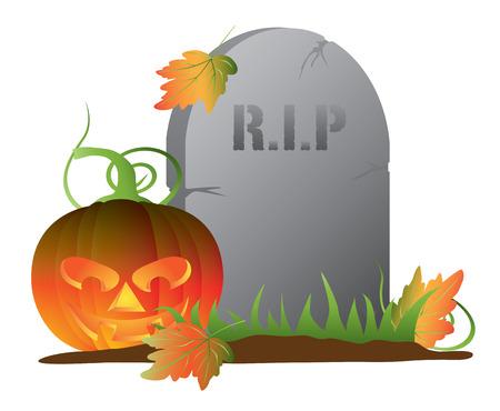 Halloween Jack-O-Lantern Pumpkin Sitting by Tombstone Isolated on White Background Illustration 矢量图像