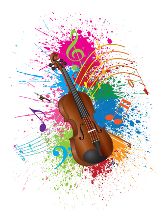 Violin with Bow and Paint Splatter Abstract Color Isolated on White Background Illustration Vectores