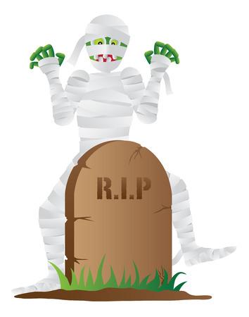 Halloween Mummy Cartoon with Tombstone Isolated on White Background Illustration Ilustração