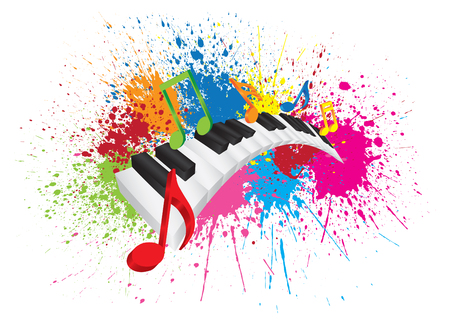 music 3d: Piano Keyboard with Black and White Wavy Keys and Colorful Music Notes in 3D Paint Splatter Abstract Color Illustration
