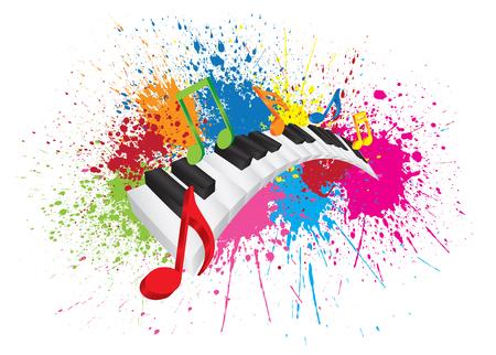 nota musical: Teclado de piano con notas de la música de colores en la pintura de la salpicadura 3D Resumen ilustración de color blancas onduladas Claves Negro yy
