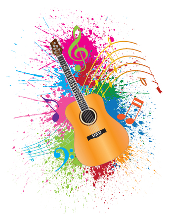 Acoustic Guitar with Musical Notes and Paint Splatter Abstract Effect Color Illustration