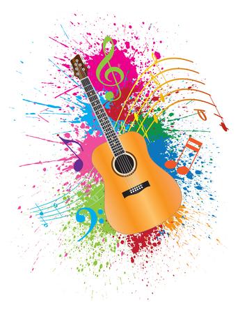 guitarra: Guitarra acústica con las notas musicales y la pintura de la salpicadura de la ilustración Resumen Efecto de color Vectores