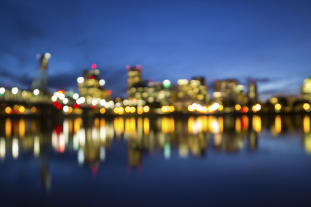 waterfront: Portland Oregon downtown City Skyline during Blue Hour Blurred Defocused Abstract Bokeh Background