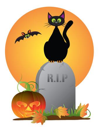 halloween black cat: Halloween Black Cat Sitting on Tombstone with Jack-O-Lantern Pumpkin and Flying Bat Illustration