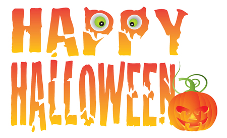 spooky eyes: Happy Halloween Text Greeting with Spooky Eyes and Jack-O-Lantern Pumpkin Isolated on White Background Illustration