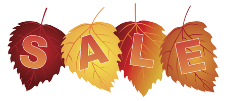 sign store: Sale Text on Fall Colors Birch Leaves for Store Sign Illustration