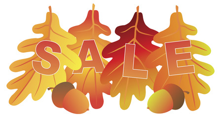 sign store: Sale Text on Fall Colors Oak Leaves for Store Sign Illustration
