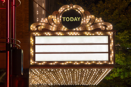 Marquee Lights on Broadway Theater Exterior Blank