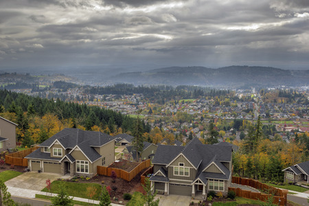 portland oregon: Happy Valley Oregon Rapid Growing City Residential Homes in Fall Season