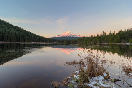 alpenglow: Alpenglow sunset over Mount Hood at Frozen Trillium Lake in Winter