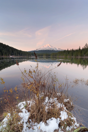 Winter Season at Trillium Lake with Mount Hood Reflection during Sunset