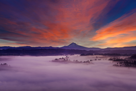 mount hood: Mount Hood Over Sandy River Covered in thick blanket of fog at Sunrise