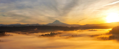 winter sunrise: Sunrise Over Mt Hood View and Foggy Valley from Scenic Viewpoint in Sandy Oregon Panorama