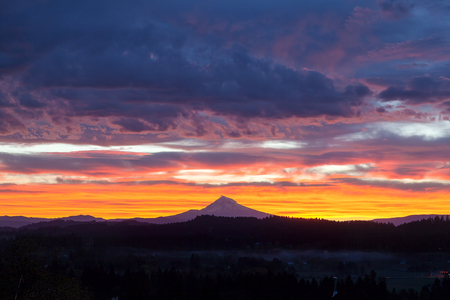 mt  hood: Happy Valley Oregon with Mt Hood View during Sunrise with Colorful Dramatic Sky