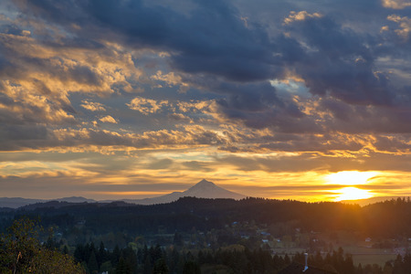 mt: Sunrise Over Mt Hood View from Scenic Happy Valley Oregon