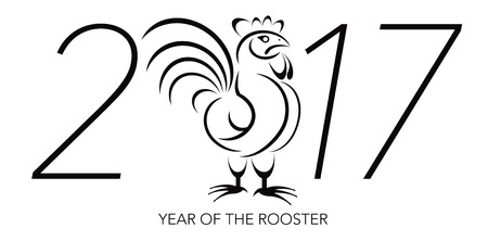 Chinese Lunar New Year of the Rooster Black and White Line Art with 2017 Numerals Illustration