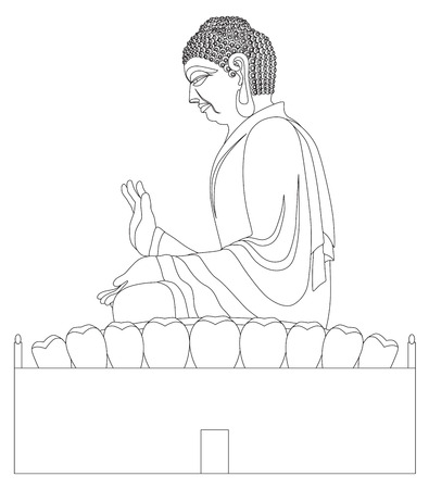 asian art: Big Asian Buddha Sitting on Lotus Pad Statue Black and White Line Art Illustration