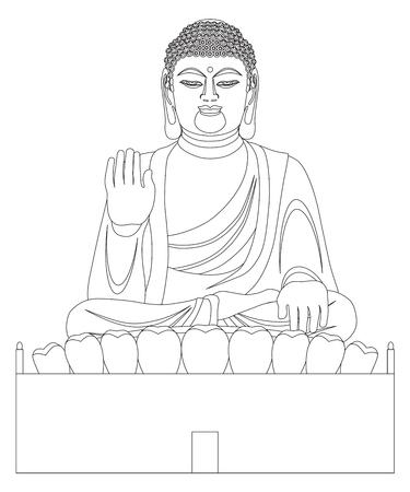 Big Asian Buddha sitzt auf Lotus Pad Statue Vorderseite mit Blick auf Schwarzweiss-Linie Kunst Illustration