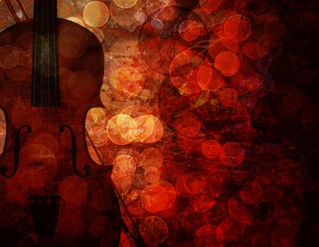 ボケ ミュージカル ノートと赤グランジ テクスチャ背景イラストとヴァイオリン 写真素材