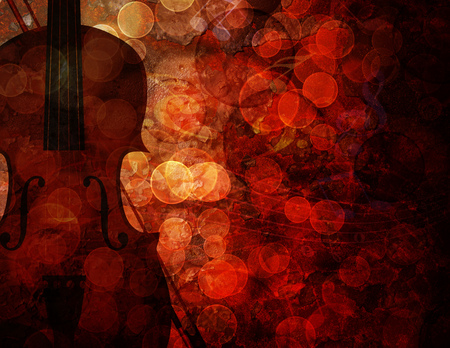 Violin with Bokeh Musical Notes and Red Grunge Texture Background Illustration