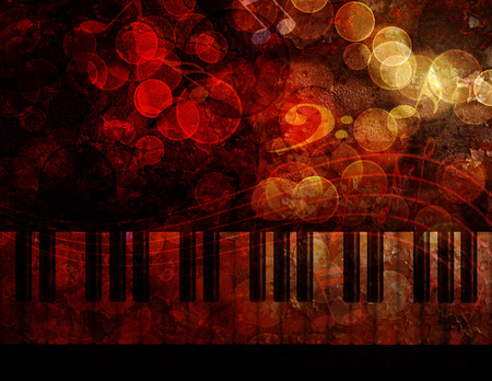 Piano Keyboard with Bokeh Musical Notes and Red Grunge Texture Background Illustration Zdjęcie Seryjne
