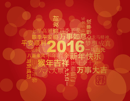 red happiness: 2016 Chinese Lunar New Year Greetings Text Wishing Health Good Fortune Prosperity Happiness in the Year of the Monkey on Red Background Illustration Illustration